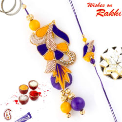 Aapno Rajasthan Lovely Yellow & Purple Rich Zardosi Bhaiya Bhabhi Rakhi Set, only rakhi with 200 gms kaju katli