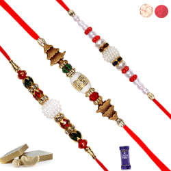 Siddhi Sales Rakhi For Rakshabandhan Set Of 3, rakhi set with 200 gm kaju katali