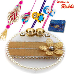 Aapno Rajasthan Charming Crystal Clear Base Floral Motif Rakhi Pooja Thali With Family Rakhi Set, only rakhi with cadbury celebrations 110 gms pack