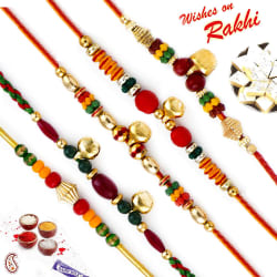 Aapno Rajasthan Set Of 5 Multicolor Beads & Bell Embellished Rakhis, only rakhi
