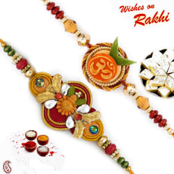 Aapno Rajasthan Set Of 2 Swastik & Kalash Motif Mauli Thread Rakhi, only rakhi