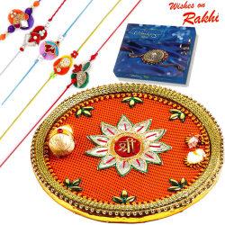Aapno Rajasthan Beautiful Shree Pooja Thali & Chocolate Rakhi Hampers With Set Of 5 Rakhis