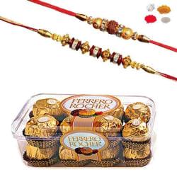 Maalpani Premium Pack Of Two Gold Diamond Rakhi With 16 Pcs Ferrero Rocher Chocolate 205