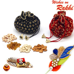 Aapno Rajasthan Red & Black Pouch With Dryfruits & Zardsoi Rakhi