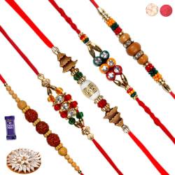 Siddhi Sales Rakhi Sweet Gift Hamper For Brother - 5 Rakhis - 400 gm
