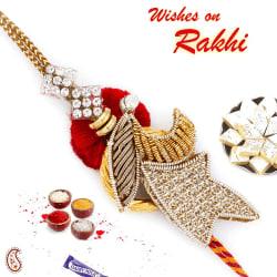 Aapno Rajasthan Enchanting Red Base Zardosi Rakhi, set of 2 rakhis