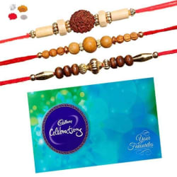 Maalpani Three Rakhi Set Sandalwood N Indian Bead Rakhi With Cadbury Celebration Pack 330