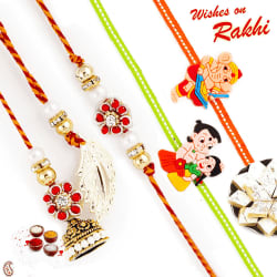 Aapno Rajasthan Floral Design Bhaiya Bahbhi Rakhi Set With 2 Kids Rakhi, only rakhi with 1/2 pound kaju katli
