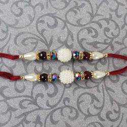 Giftacrossindia Set Of Two Beautiful Pearl Rakhis