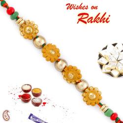 Aapno Rajasthan Golden Round Floral Motif Mauli Thread Rakhi, only rakhi with 200 gms kaju katli