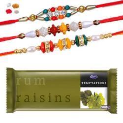 Maalpani Three Rakhi Pack Handmade Bracelet N Multi Color Bracelet Rakhi With Temptation Rum Raisins Chocolate 306