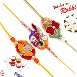 Aapno Rajasthan Set Of 3 Multicolor Floral Motif Rich Zardosi Rakhi, only rakhi