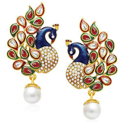 YouBella Dancing Peacock Gold Plated Jewellery Earrings for Girls and Women