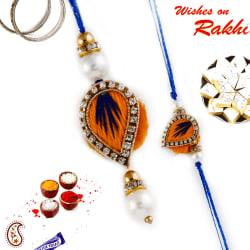 Aapno Rajasthan Orange & Blue Keri Style Bhaiya Bhabhi Rakhi Set, only rakhi