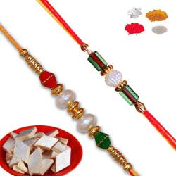 Maalpani Trendy Two Bead N Pearl Rakhi Set With 200gm Kaju Katli
