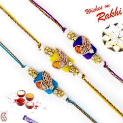 Aapno Rajasthan Set Of 3 Rich Zardosi Work Yellow & Blue Rakhi, only rakhi