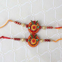 Giftacrossindia Two Om Floral And Beads Rakhi