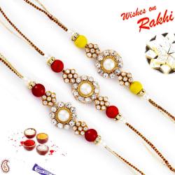 Aapno Rajasthan Set Of 3 Pearl & Ad Embellished Fancy Rakhi, rakhi with 200 gm kaju katli