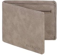 MarkQues Invader Beige Leather Mens Wallet (IND-4420)