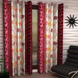 India Furnish Eyelet Polyester Curtain Window Length - Set Of 4 Pcs (IFCUR15022W(4) ), maroon