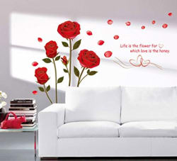 Decals Design  Romantic Rose Flowers  Wall Sticker (PVC Vinyl, 50 cm x 70 cm)