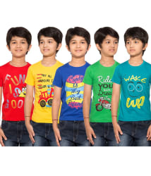 Maniac Multicolour Half Sleeves T-Shirts - Pack of 5