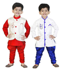 Generation Next Multicolor Silk Indo Western Set with Waistcoat - Pack of 2