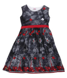 Lil Orchids Girls Grey Casual A-line Dress