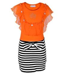 Lil Orchids Orange Cotton Dress For Girls