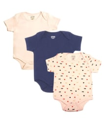 Gkidz Infants Pack of 3 Multicolor Bodysuits