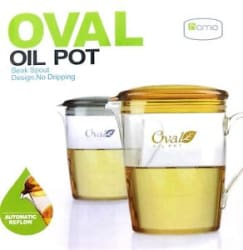 Details about Oval 600ml Oil Pot with No Dripping Beak Snout Design Automatic Reflow