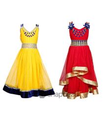 Tiny Toon Multicolor Blended Pack of 2 Dresses For Girls