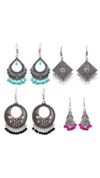 Zcarina Oxidized Silver Plated Colorful Jhumka Jhumki Earring For Women & Girls Set of 4