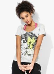 Afro Grey V Neck T Shirt