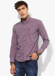 Orange Checked Regular Fit Casual Shirt