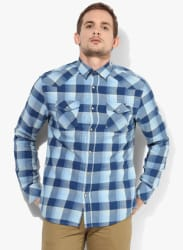 Blue Checked Regular Fit Casual Shirt