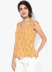 Orange Printed Blouse