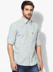 Yellow Checked Regular Fit Casual Shirt