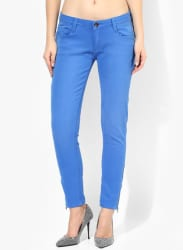 Blue Solid Mid Rise Regular Fit Jeans