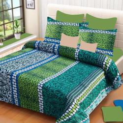 Home Elite 104 TC Cotton Double Motifs Bedsheet (1 Double Size Bedsheet, 2 Pillow Covers, Multicolor)
