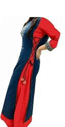 Nine Street Store Womens Silk Kurta (Five0-Five0 _Cream _Free Size)