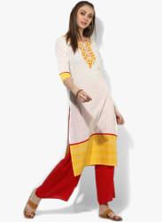 Round Neck 3/4Th Sleeves Embroidered Kurta