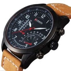 Details about New Fashion Curren Leather Strap Military wrist Watch