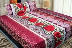 Details about ValueX 3D Print Polly Cotton Double Bed sheet With Two Pillow Covers