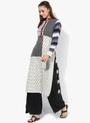 Mandarin Collar Yarn Dyed Kurta With Full Sleeves