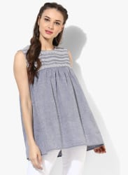 Round Neck Chambray Embroidered Tunic With Sleeveless