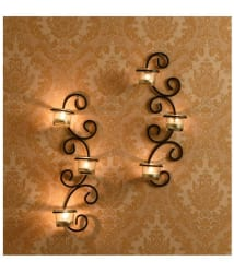 Hosley Set of 2 Antique Bronze Black Metal Wall Sconce - Pack of 2