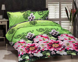 Details about  Dream Decor Polyester Double Bed Sheet With 2 Pillow Covers - Green
