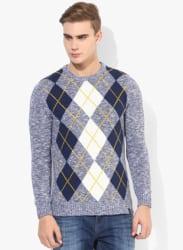 Blue Printed Round Neck Sweater