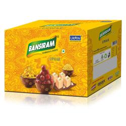 Bansiram Diwali Uphar, roasted salted cashew 170 gm, chana dal 400 gm, soan papdi orange 250 gm